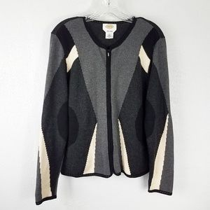 Talbots Alpaca Blend Zip Front Cardigan Sweater
